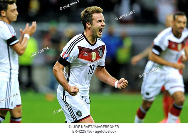 Mario Goetze celebrating after scoring to make it 2 to 0, Germany against Poland, qualifier for UEFA Euro 2016, Commerzbank Arena, Frankfurt am Main, Germany