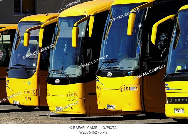 Buses, Bourg-Madame. Pyrénées-Orientales, Languedoc-Roussillon, France