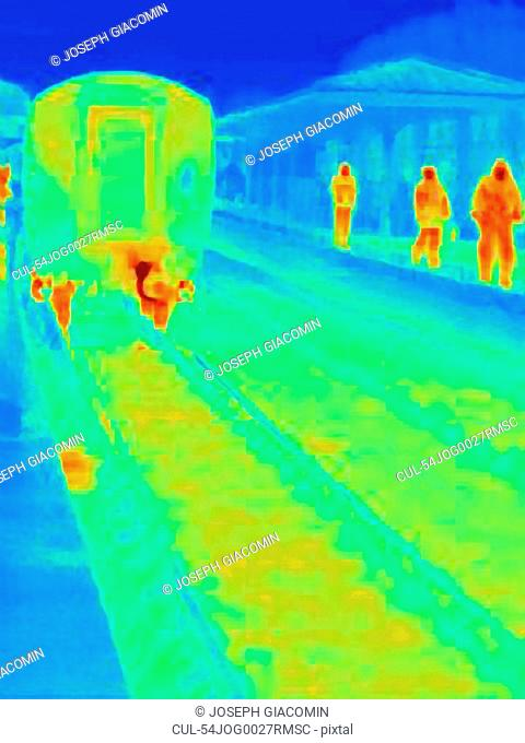 Thermal image of train in station