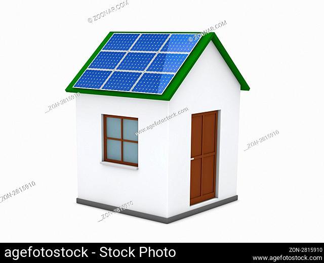 3d house solar energy green power blue