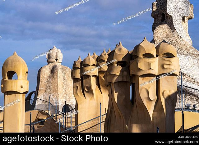 La Pedrera (Milá House), Roof, Gaudí, Barcelona, Catalonia, Spain