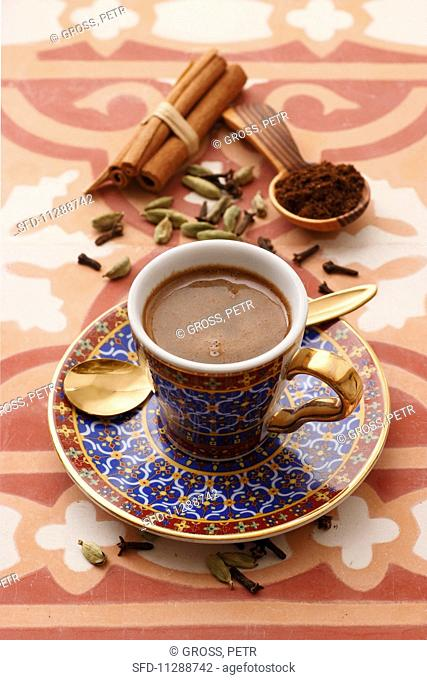 A cup of oriental mocha with spices