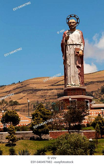 Monument to Saint Peter the patron saint of the city of Alausi, built by the Ecuadorian artist Eddie Crespo. This monument is located in Loma de Lluglli
