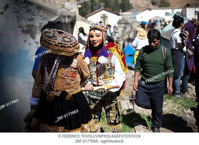 "Feast of """"Mamacha del Carmen"""" of Paucartambo. During the visit of dancers dead. Peru"