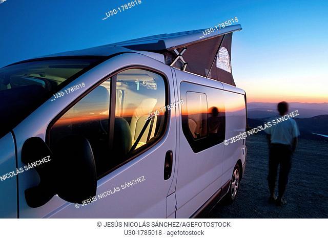 Camper van at sunset in the Biosphere Reserve of Sierra de Béjar and Francia  Candelario  Salamanca  Castilla y León  Spain