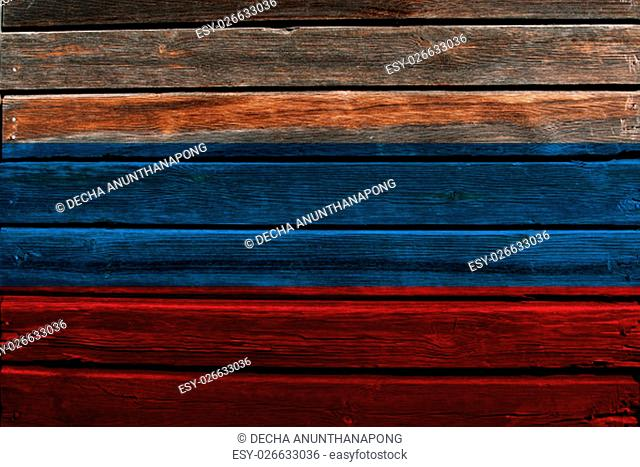 Flag of Russia on a wood background