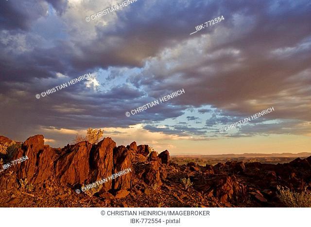 Last evening light over the Damaraland and Kaokoveld, Namibia, Africa