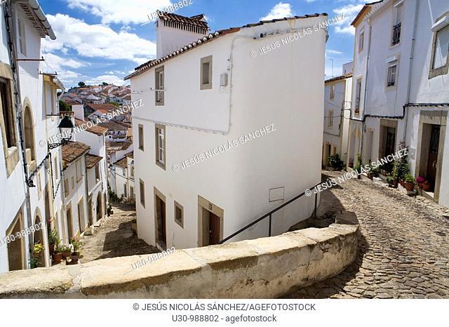 Streets and houses in the jewish quarter of the Historic Village of Castelo de Vide, in Alentejo  Portalegre District  Portugal