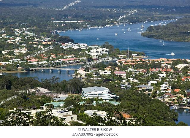 Australia, Queensland, Sunshine Coast, Noosa, Morning overview of Noosa Heads from the Laguna Lookout