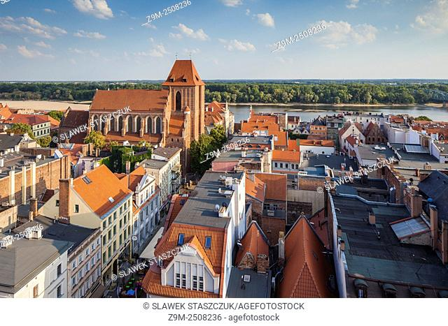Torun old town seen from the tower of Town Hall. Kujawsko-Pomorskie province, Poland. UNESCO World Heritage Site