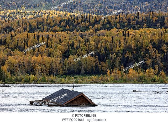 USA, Alaska, View of bloated house in Matanuska River
