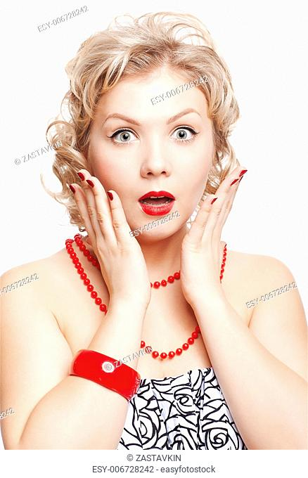 isolated portrait of surprised beautiful young blonde size plus woman model