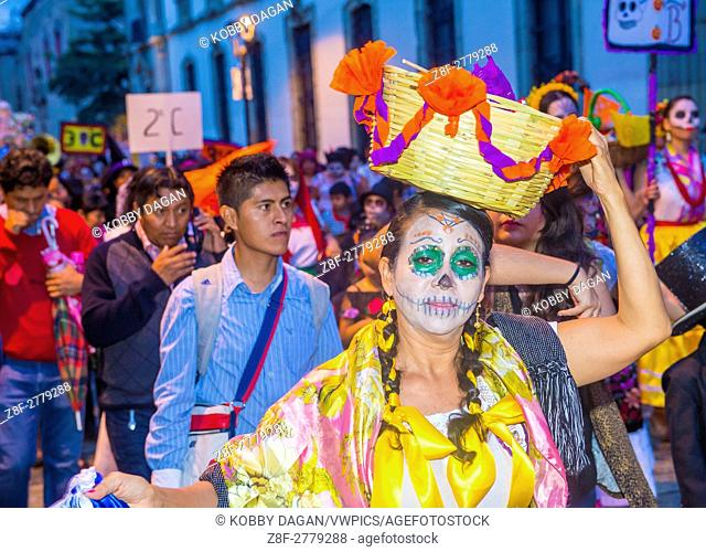 Participants on a carnival of the Day of the Dead in Oaxaca, Mexico