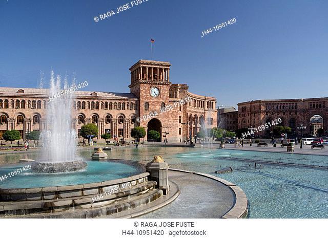 Armenia, South Caucasus, Caucasus, Eurasia, building, History, Clock, Republic, Yerevan, architecture, city, downtown, famous, fountain, landmark, skyline