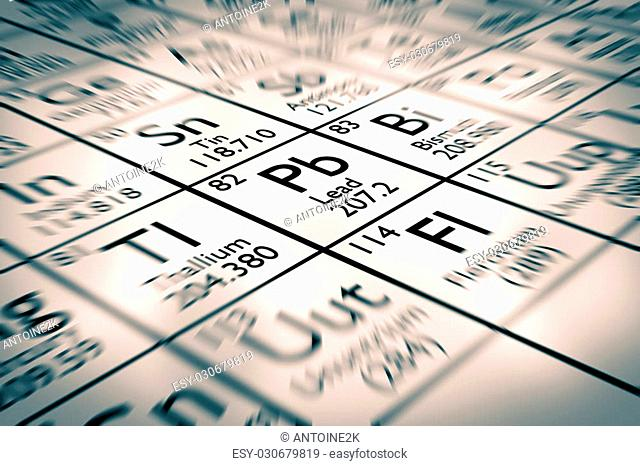 Focus on lead chemical element from the mendeleev periodic table