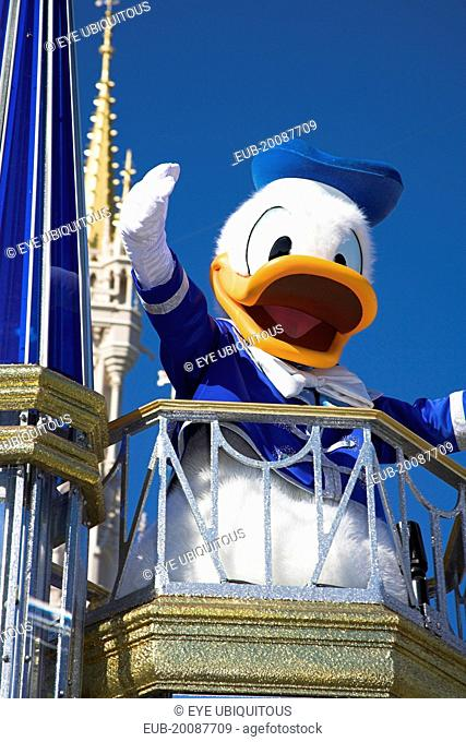 Walt Disney World Resort. Donald Duck character during the Disney Dreams Come True parade in the Magic Kingdom