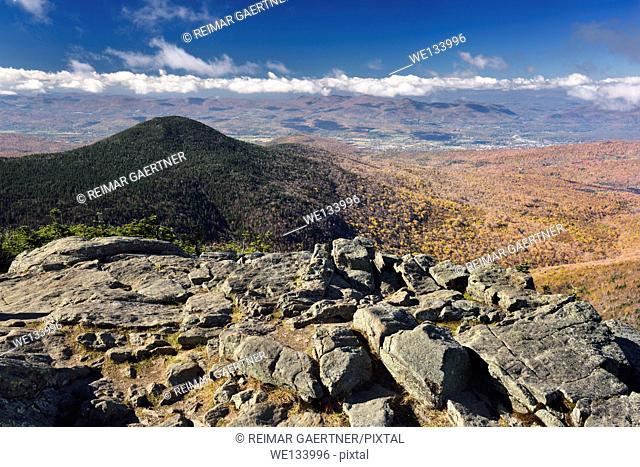 Mendon Peak in Coolidge State Forest and Rutland Vermont from Killington Mountain Peak in the Fall