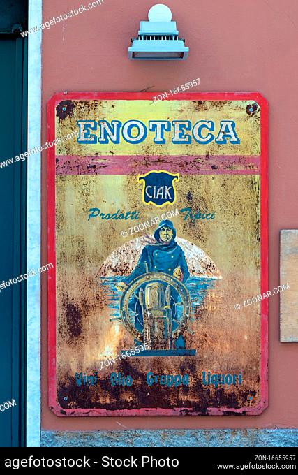 MONTEROSSO, LIGURIA/ITALY - APRIL 22 : Old rusty sign in Monterosso Liguria Italy on April 22, 2019