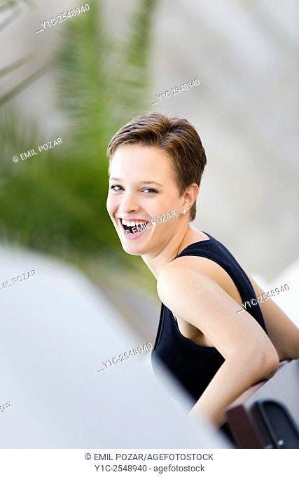 Surprised teenager girl looking back