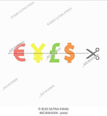 Scissors cutting through currency symbols