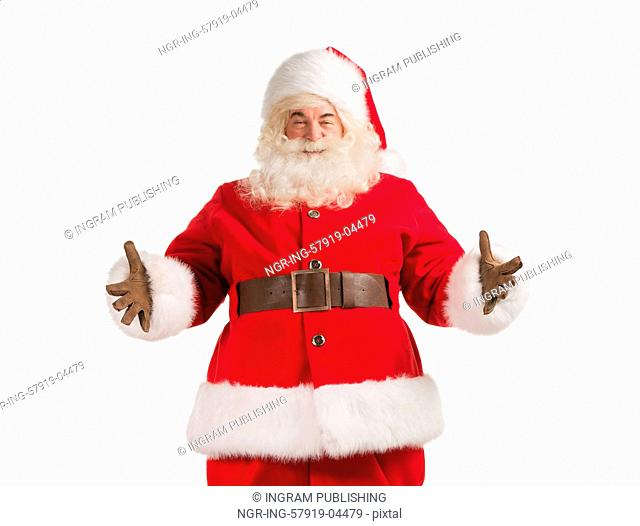 Santa Claus gesturing his hand isolated over white background. Welcoming you