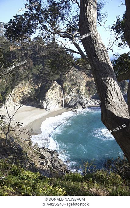 Waterfall and beach at Julia Pfeiffer Burns State Park, near Big Sur, California, United States of America, North America