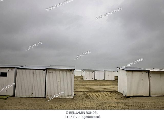 Bathing huts for rent on the North Sea, Belgium