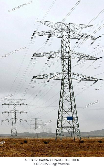 Electricity towers , Albacete province , Castilla la mancha , Spain
