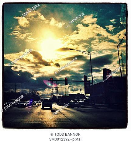 Driving into the afternoon sun in suburban Chicago