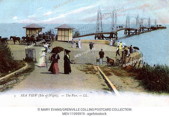 The elegant Suspension Pier, Seaview , Isle of Wight, Hampshire, England. The suspension pier was designed by Frank Caws