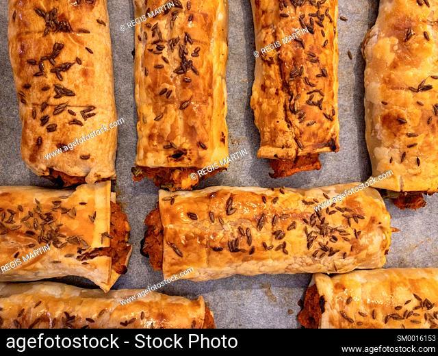 Homemade vegetarian pastry rolls
