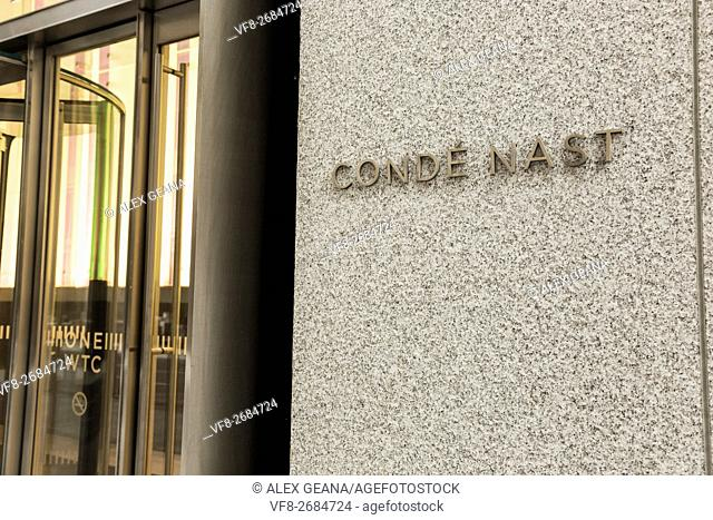 The new signage of Conde Nast at One World Trade Center in downtown Mahattan. The Freedom Tower is the new home of the publishing empire