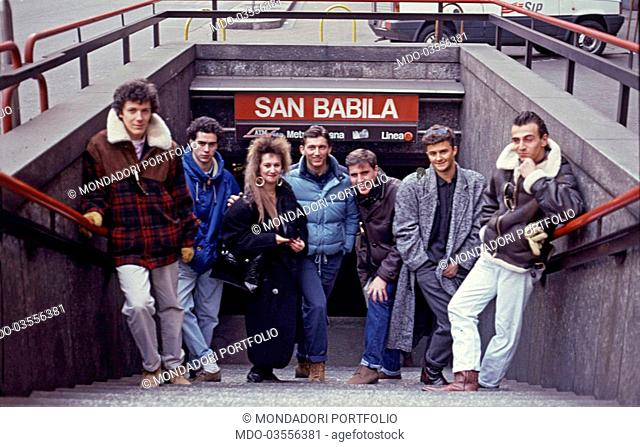 """A group of boys, following the """"""""paninari"""""""" trends, came together in the underground station of Piazza San Babila; they distinguish themselves by wearing..."""