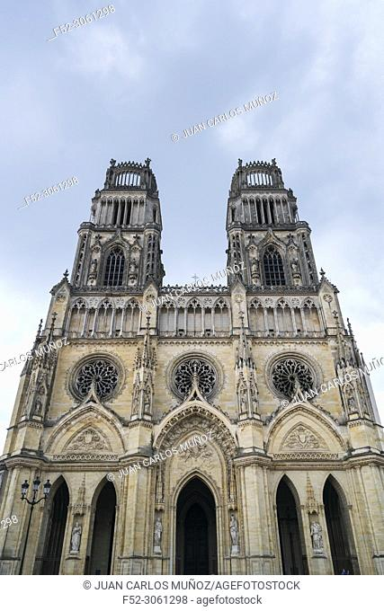 Facade of Orleans Cathedral, Cathedral of the Holy Cross, Orleans City, Loiret Department, The Loire Valley, France, Europe