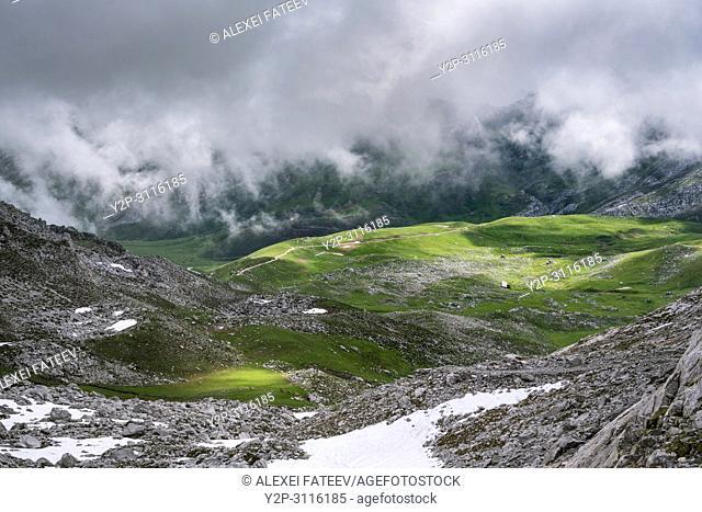 A valley in Picos de Europa in Cantabria, Spain