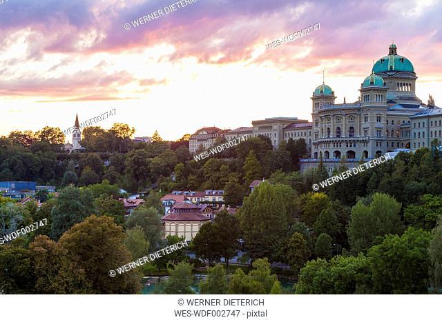 Switzerland, Bern, Federal Palace at dusk