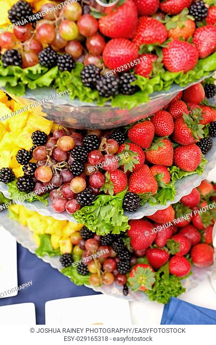 Fruit tray at an outdoor wedding reception in Oregon