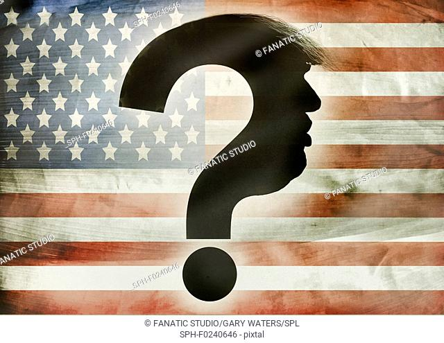 Conceptual illustration of the profile of president Trump forming a question mark over the American flag depicting the questions that have arisen during his...
