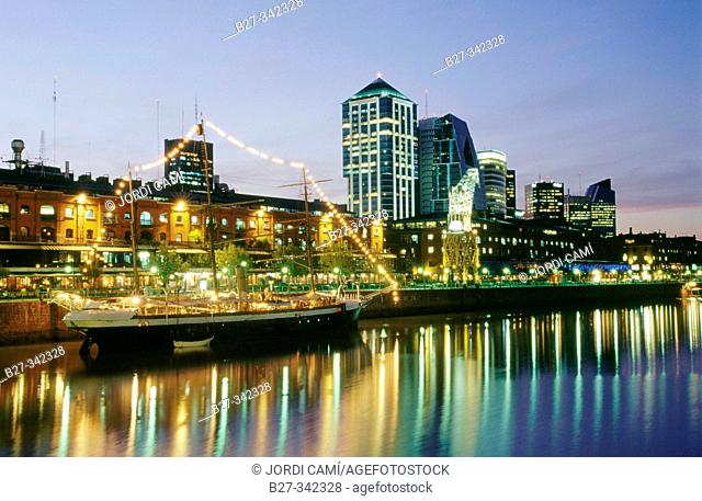Night view of Puerto Madero. Buenos Aires. Argentina