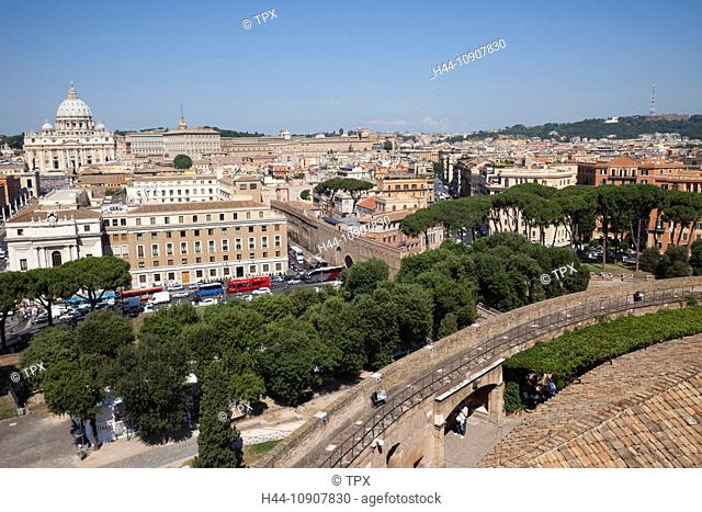 Europe, Italy, Rome, Castel Sant'Angelo, Castel S'Angelo, Saint Angelo Castle, Castle, Vatican, Vatican Skyline, Tourism, Holiday, Vacation