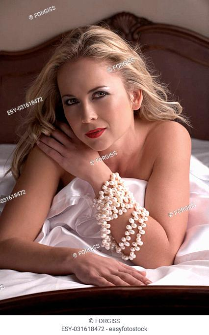 Naked shoulders and necklace Stock Photos and Images