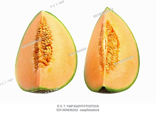 Slices of Rock Melon on White Background