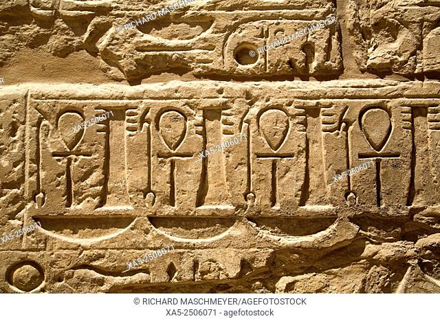 Bas-reliefs Depicting Anks, Temple of Ramses III, Karnak Temple, Luxor, Egypt