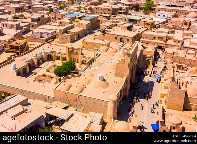 Historic architecture of Itchan Kala, walled inner town of the city of Khiva, Uzbekistan. UNESCO World Heritage Site
