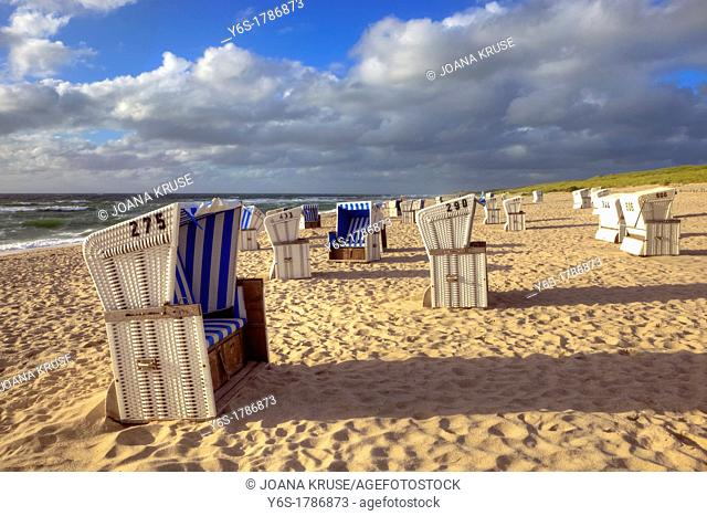 beach chairs, beach, sunset, Hoernum, Sylt, Schleswig-Holstein, Germany