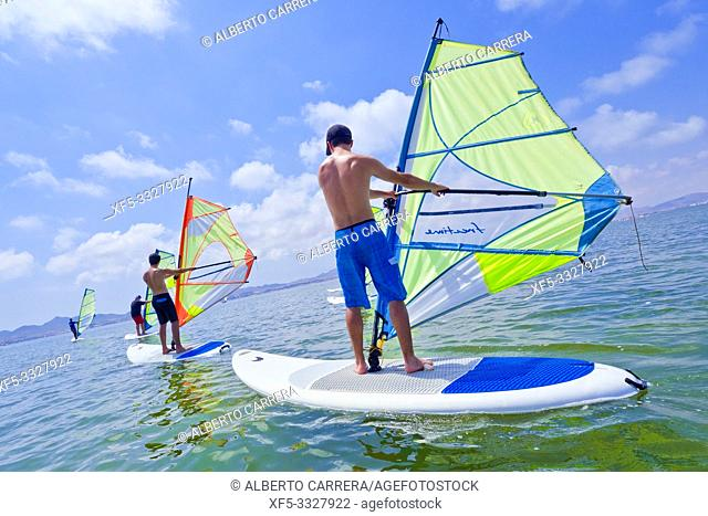 Windsurfers, Mar Menor, La Manga, Mediterranean Sea, Murcia, Spain, Europe