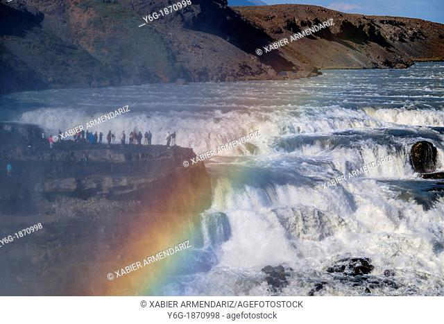 People on the edge of the waterfall of Gullfoss, one of the largest and mighty waterfalls of Iceland  Golden Circle  Southeast Iceland  Iceland, Scandinavia