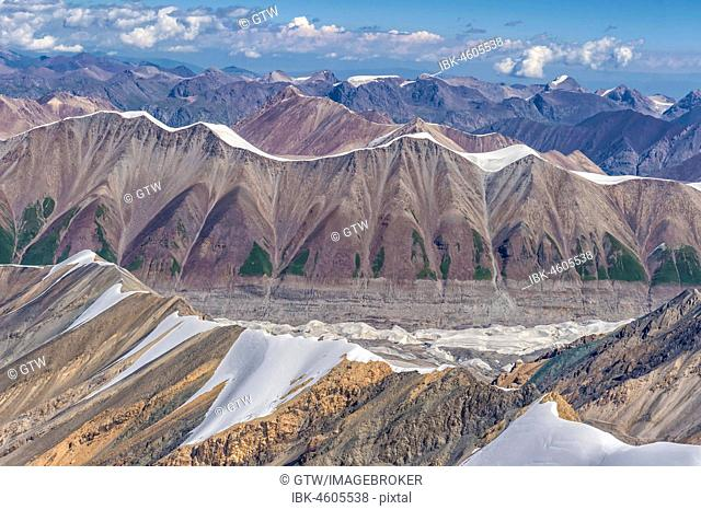 Aerial view over the Central Tian Shan Mountain range, Border of Kyrgyzstan and China, Kyrgyzstan