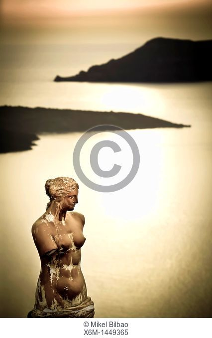 Greek statue in Fira village  Santorini island, Cyclades islands, Aegean Sea, Greece, Europe