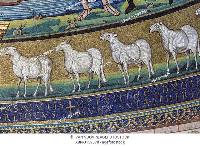 Mosaics (6th century), Church of Saints Cosmas and Damian interior, Basilica dei Santi Cosma e Damiano, Rome, Lazio, Italy